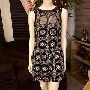 Free People Black & White Maroon Crochet Dress XS